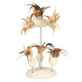 Trixie Přírodní hračka na pružině (lufa, peří) 15x30 cm